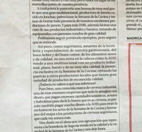CERVEZA SANFRUTOS SE ENCONTRÓ CON LAS PUERTAS CERRADAS EN EL EVENTO DE LA SEMANA DE LA COCINA DE SEGOVIA